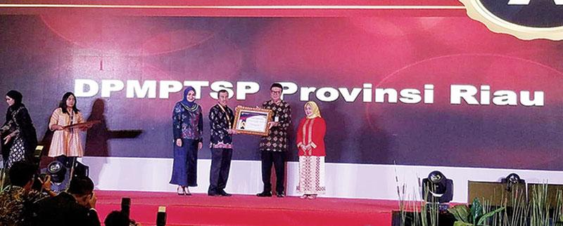 Penghargaan Ketiga Kali Berturut-turut DPMPTSP Riau