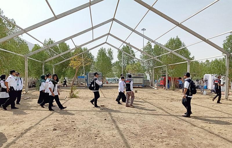 Dirjen PHU Inspeksi Persiapan Tenda di Arafah