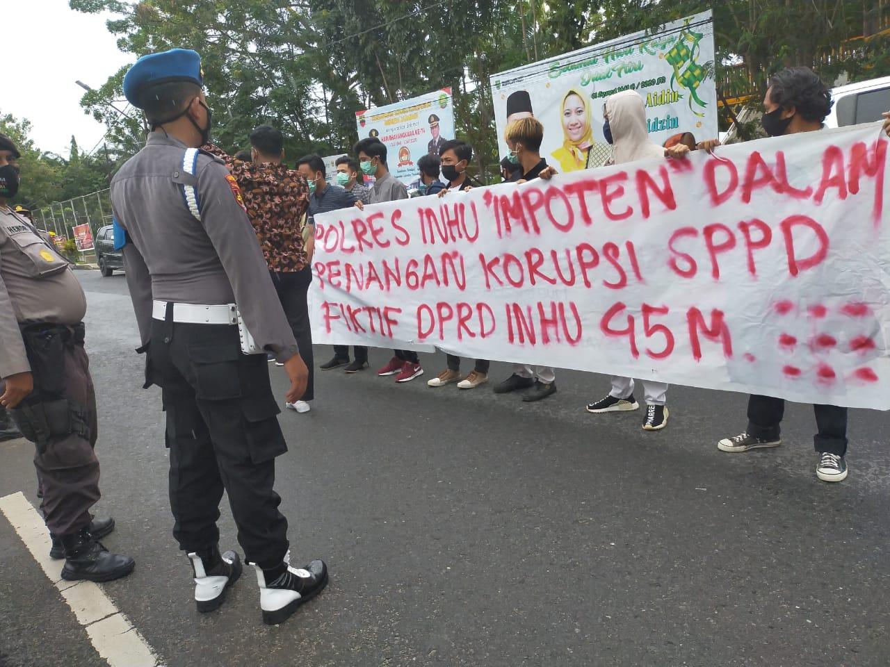 Forba Demo Polres, Tuntut Penetapan Tersangka SPPD Fiktif di DPRD Inhu