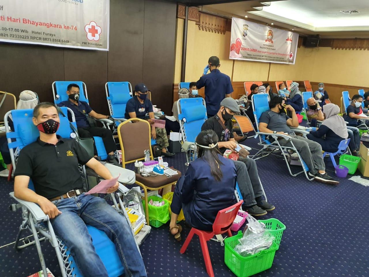 Relawan Peduli Covid-19 dan Polda Riau Kumpulkan 1.241 Kantong Darah