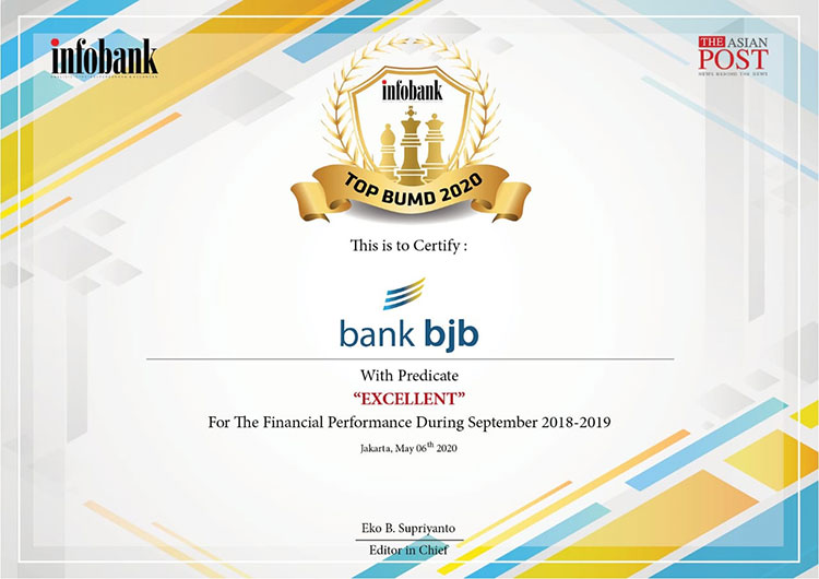 Bank BJB Dinobatkan Sebagai BUMD Terbaik Tahun 2020