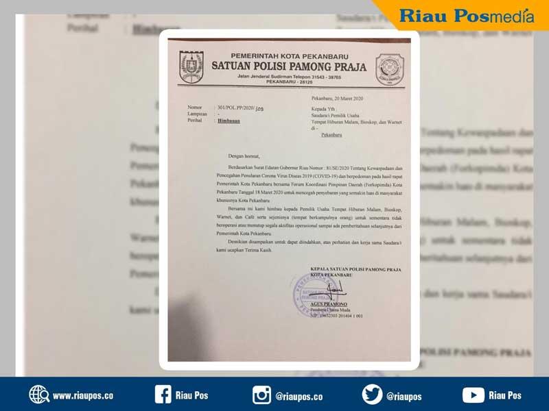 Satpol PP Pekanbaru Surati Pengelola THM, Bioskop, Warnet dan Kafe untuk Hentikan Operasional