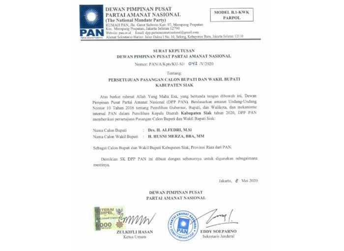 DPP PAN Usung Alfedri-Husni Mirza untuk Pilkada Siak