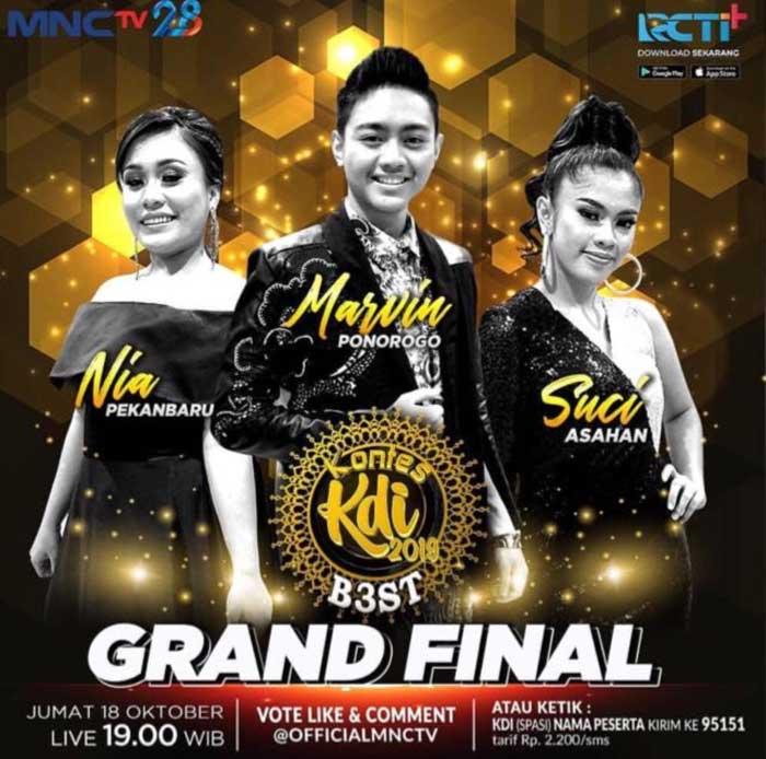 Malam Ini Grand Final KDI, Dukung Nia dari Pekanbaru