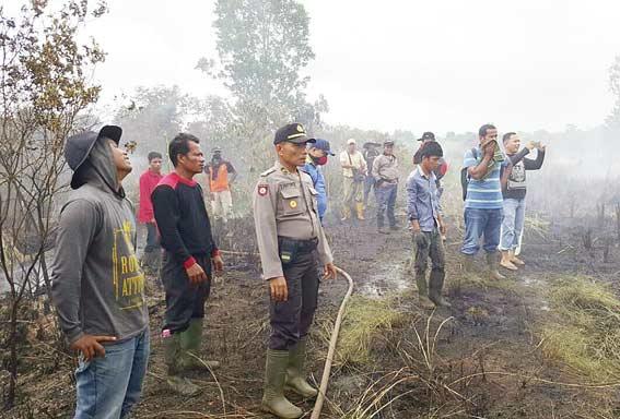 Lahan di Desa Labuhan Bilik Terbakar
