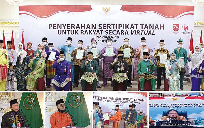 BPN Riau Serahkan 16.372 Sertipikat Tanah Secara Virtual