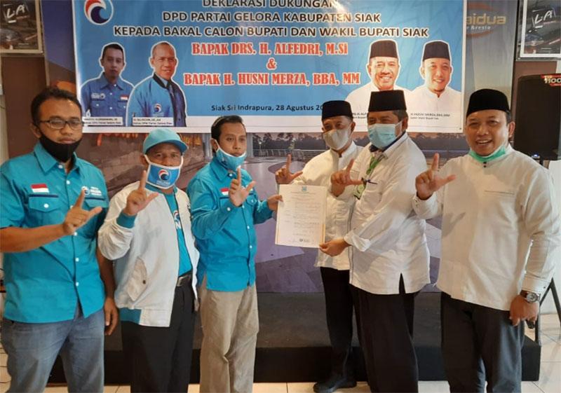 Partai Gelora Beri Dukungan Balon Pasangan Alfedri- Husni