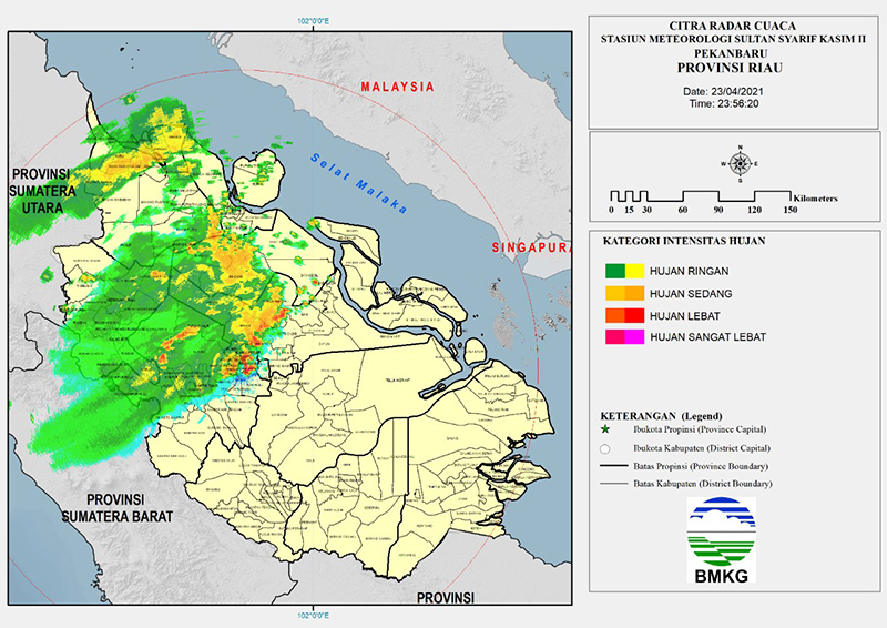 Selain Pekanbaru, Sabtu Dini Hari Curah Hujan Tinggi di 7 Daerah Ini