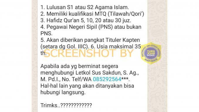 (Hoaks) Rekrutmen Perwira TNI/AU Tituler Melalui Whatsapp