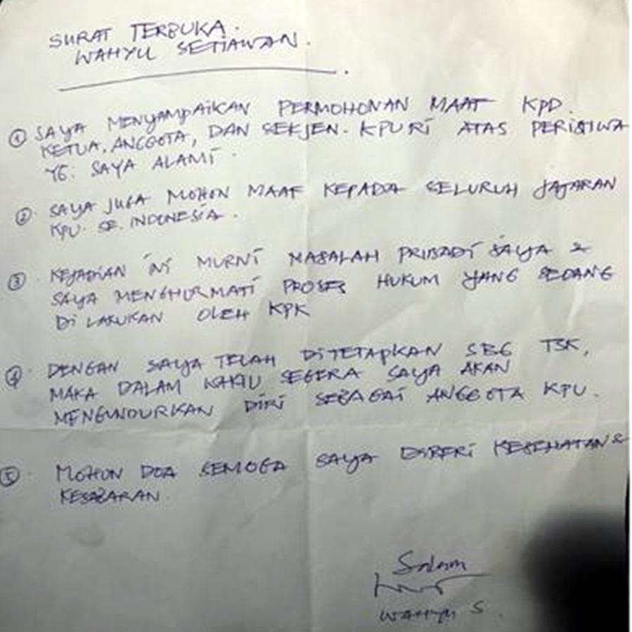 Wahyu Setiawan Tuliskan Permintaan Maaf