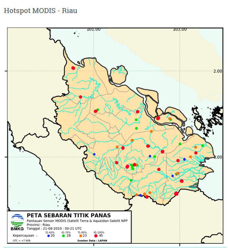 Pagi Ini, Hotspot di Riau hanya Tersisa 39 Titik