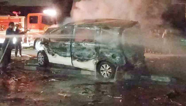 Pengusaha Diskotik Terbakar di Mobil