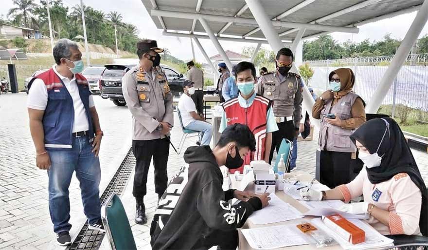 Rapid Tes Antigen Gratis di Gerbang Tol Dumai, Dua Pengendara Reaktif