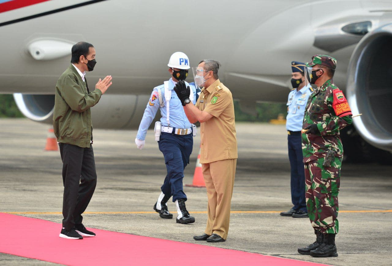Tiba di Pekanbaru, Jokowi Bermasker Turun Pesawat Kepresidenan