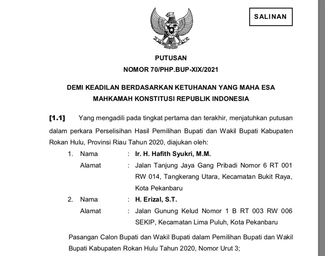 MK Putuskan 25 TPS di Rohul Lakukan Pemungutan Suara Ulang