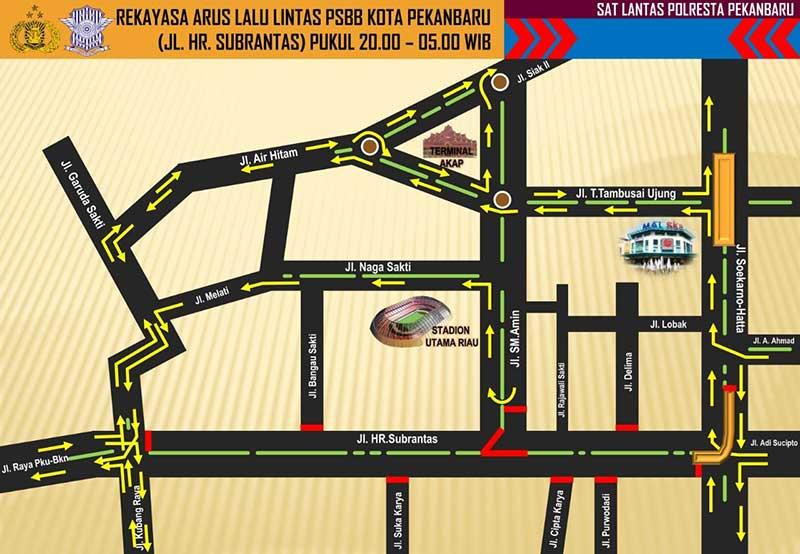 Jalan HR Subrantas dan Jalan Jenderal Sudirman Ditutup