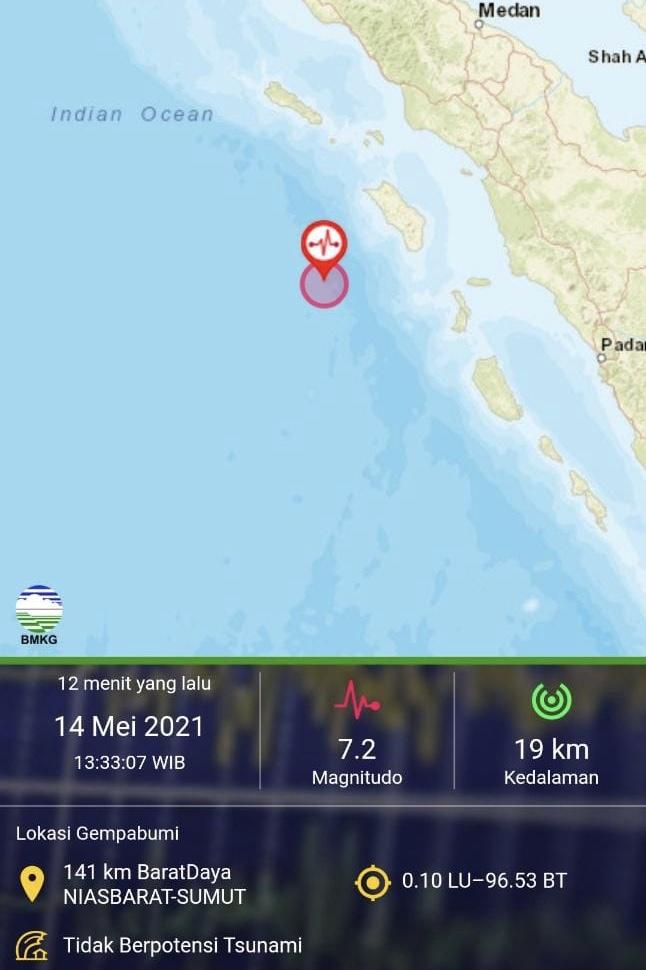 Gempa M 7,2 di Nias Barat Sumut Dirasakan Warga Sumbar