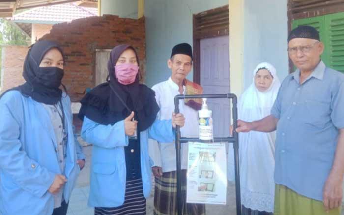 Mahasiswa Unri Buat Tempat Cuci Tangan dan Dispenser Hand Sanitizer