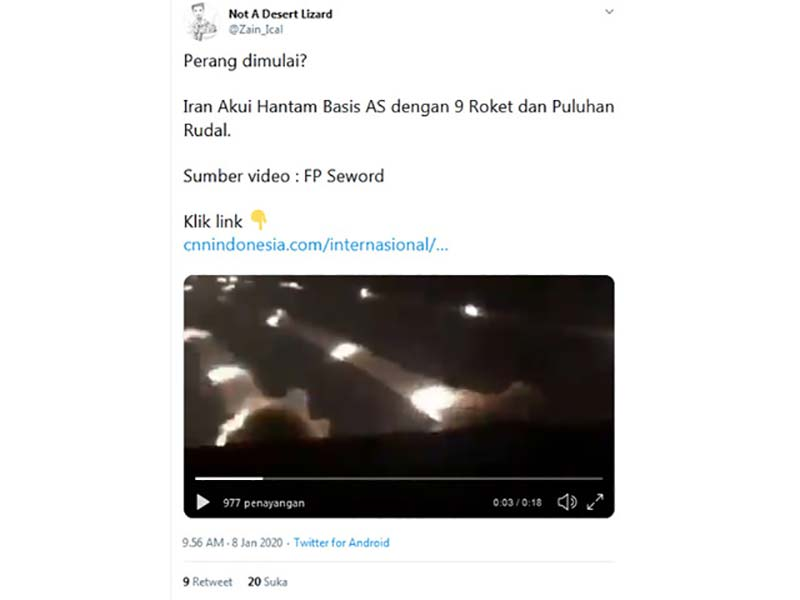 Keliru Video Serangan Iran ke Basis Militer AS