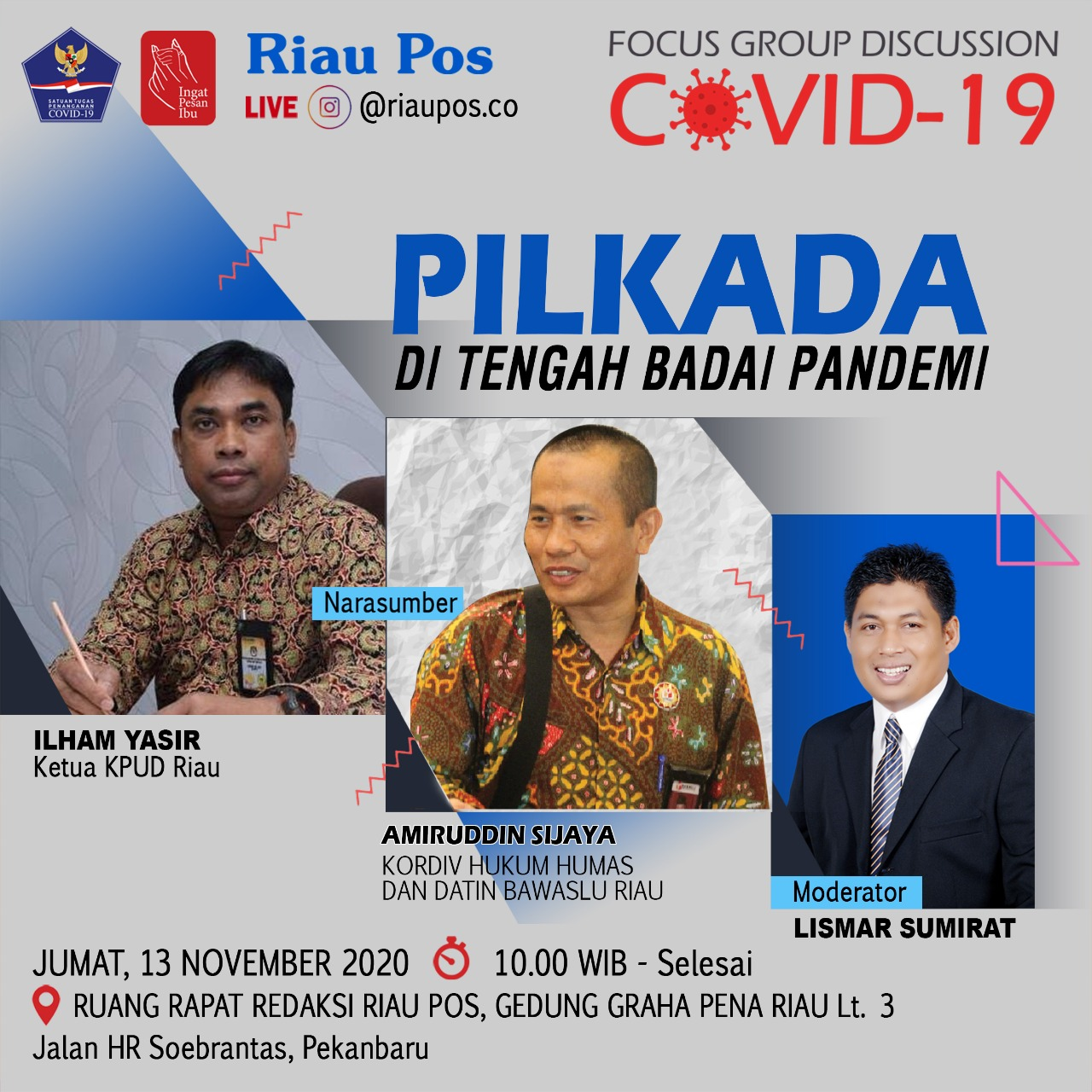 Riau Pos Gelar FGD Pilkada di Tengah Pandemi