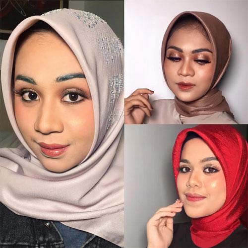 Tampilkan Simple Glamour Makeup dengan Alis Serat dan Eyeshadow Glitter