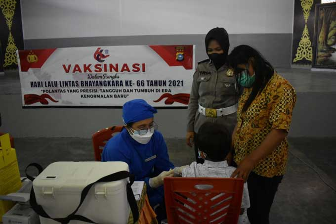 Satlantas Polresta Gelar Vaksinasi di SD Santa Maria
