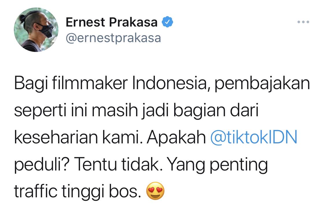 Marak Konten Film Bajakan, Ernest Prakasa Singgung TikTok di Twitter