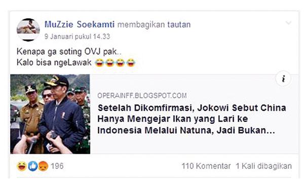 Pelintir Pernyataan Jokowi soal Natuna
