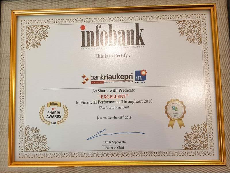 UUS Bank Riau Kepri Raih Penghargaan Institusi Keuangan Syariah Excellent Versi Infobank 2019