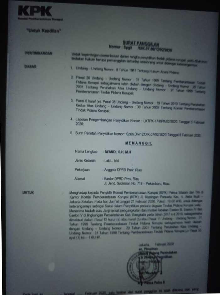 Beredar Surat Pemanggilan Iwandi oleh KPK, Ini Kata Ketua PDIP Riau