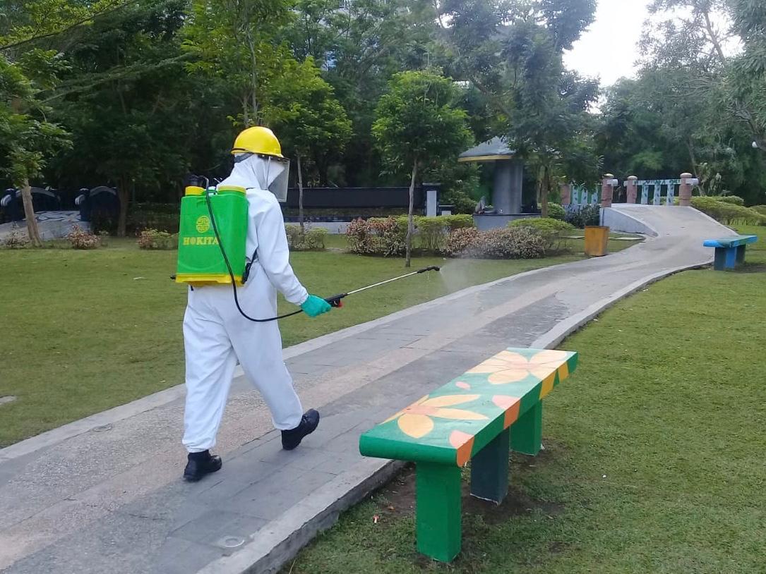 Satgas Pencegahan Ops Aman Nusa II Polda Riau Disinfeksi 2 RTH