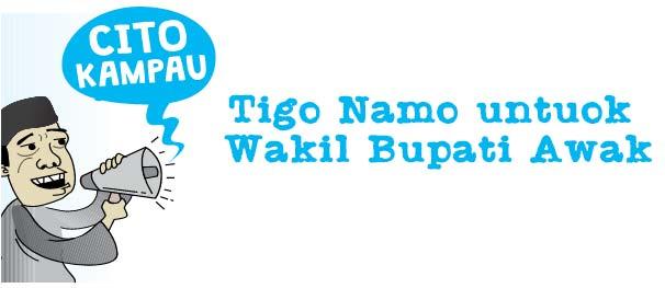 Tigo Namo untuok Wakil Bupati Awak