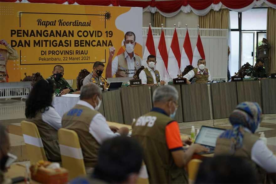 Kasus Covid-19 Meningkat di Riau, Kepala BNPB Rakor di Pekanbaru
