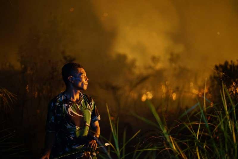 Kebakaran Lahan Terus Meluas di Jalan Riau Ujung Pekanbaru