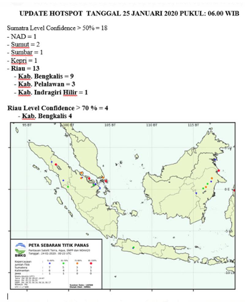 13 Hotspot Tersebar di Riau, Terbanyak di Bengkalis