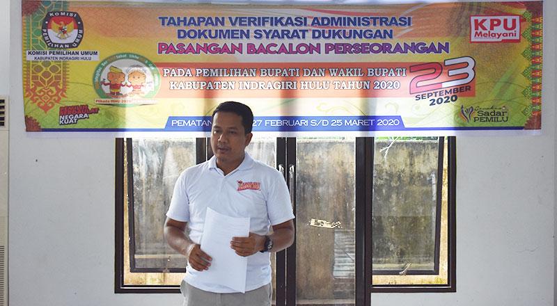 KPU Inhu Mulai Verifikasi Administrasi Syarat Dukungan Jalur Perseorangan