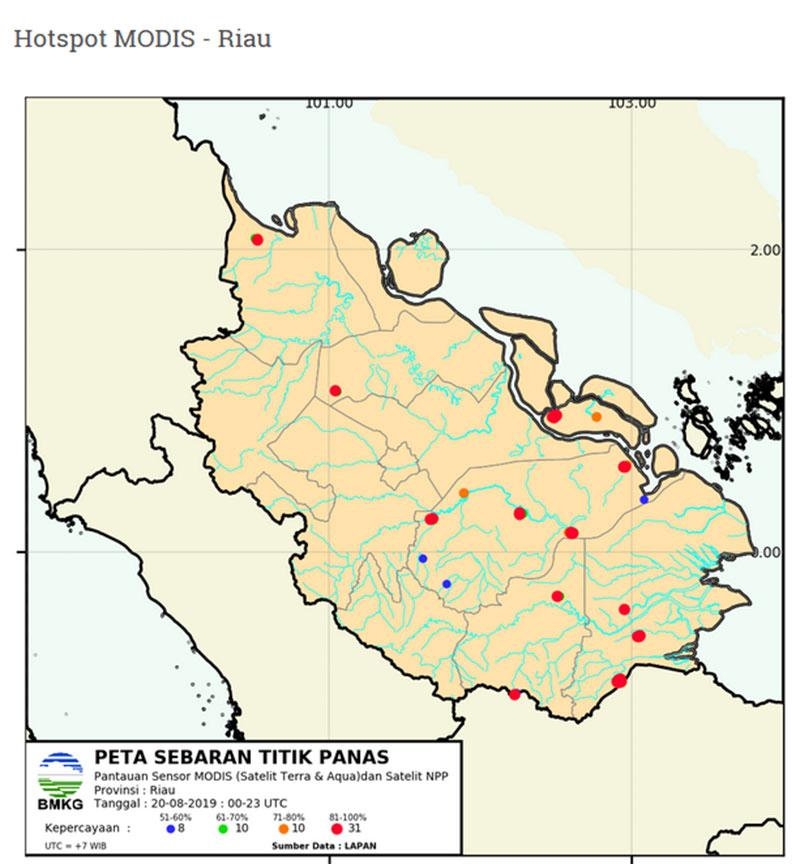 59 Titik Hotspot Terpantau di Riau
