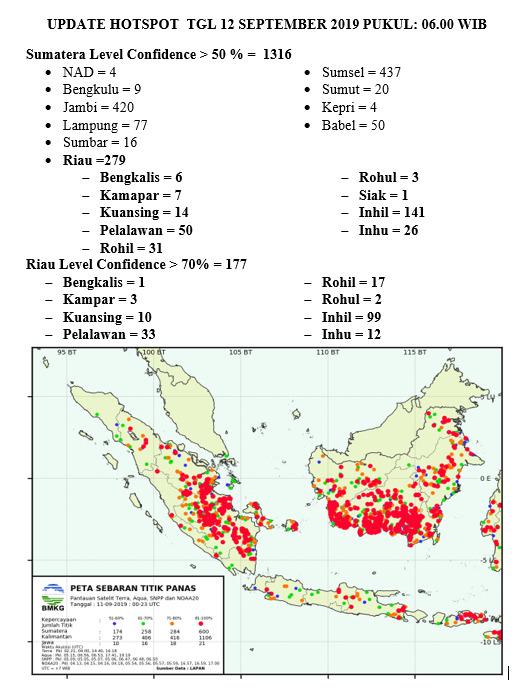 279 Hotspot Terpantau di Riau Pagi Ini