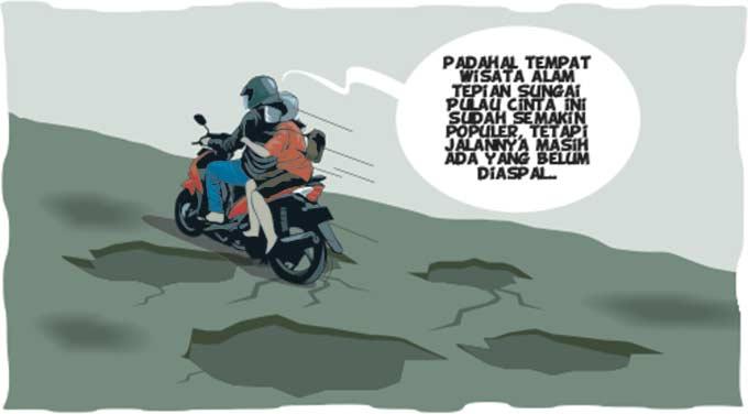 Jalan Menuju Pulau Cinta 2 Kilometer Minta Diaspal
