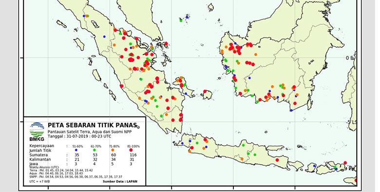 Pagi Ini, 126 Titik Hot Spot Terpantau di Riau