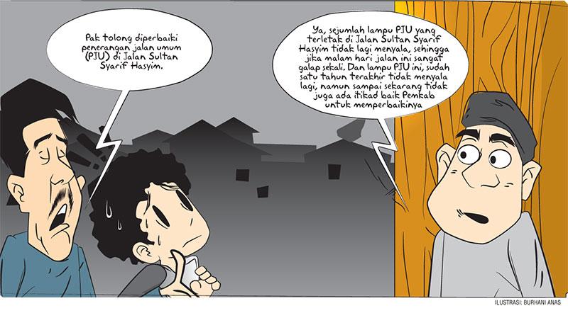 Pemkab Diminta Perbaiki PJU Jalan Sultan Syarif Hasyim