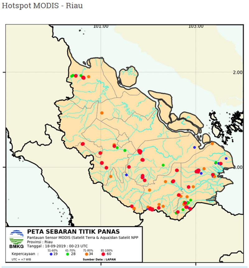 Titik Hotspot Kembali Bermunculan di Riau