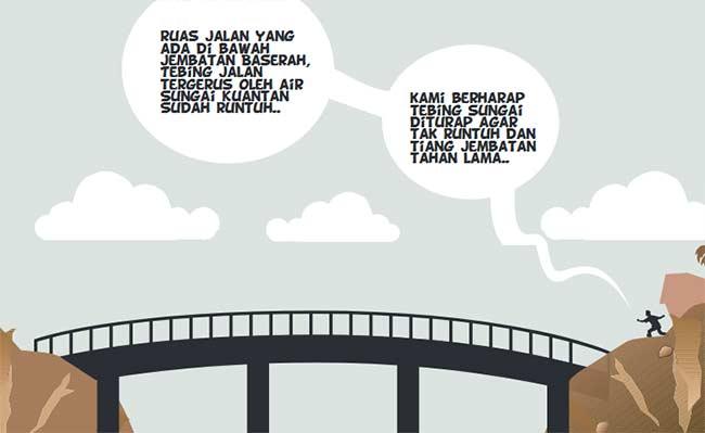 Tiang Jembatan Baserah Terancam Roboh