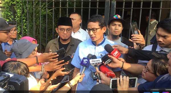 Sandiaga Sampaikan  Selamat Bekerja ke Jokowi - Ma'ruf Amin
