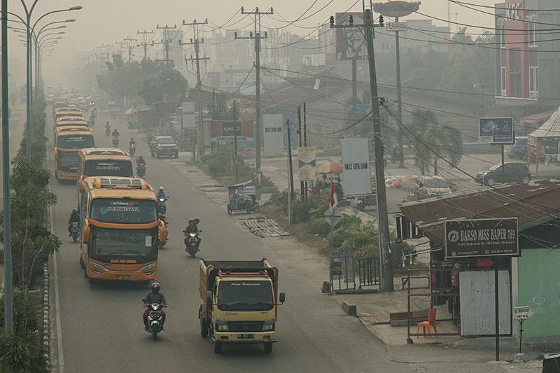Kota Rengat Mulai Diselimuti Kabut Asap