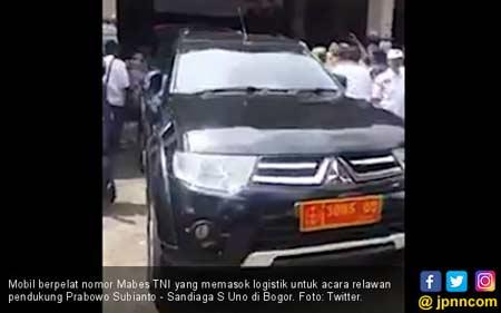 Kata Timses soal Mobil Pelat TNI Angkut Logistik Prabowo-Sandiaga