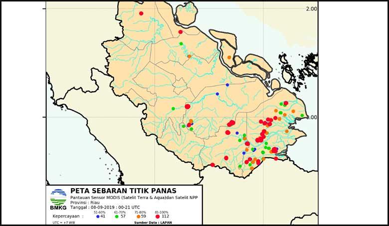 Pagi Ini, 289 Hotspot Terdeteksi BMKG Di Riau