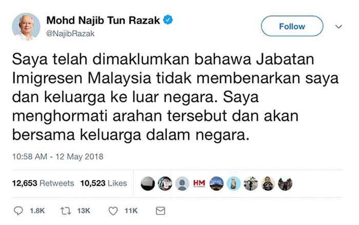 Gagal ke Indonesia, Najib Razak Masuk Daftar Hitam Imigrasi Malaysia
