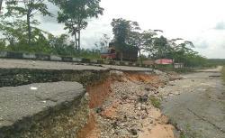 Tiga Tahun Jalan Lingkar Bangkinang Dibiarkan Ambles