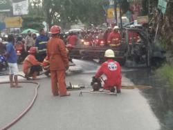 Mobil Terbakar Dekat SPBU, Sopir Alami Luka Bakar